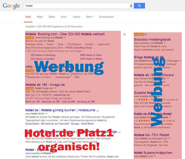 """Beispiel: Hotel.de unter dem Key """"Hotel"""" auf Platz 1  in Google.de"""